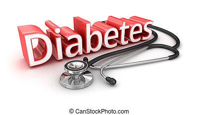 diabetes, 3d, tekst, medicical, concept