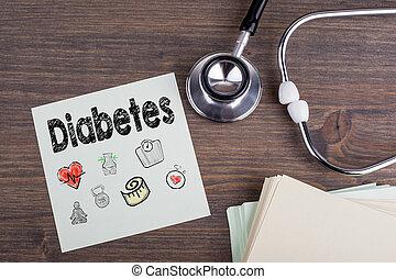 diabetes, arbejdspladsen, i, en, doktor., stetoskop, på, træagtigt skrivebord, baggrund
