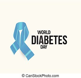 Diabetes awareness ribbon, blue vector symbol.