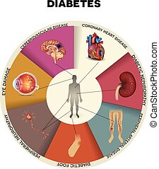 Diabetes complications detailed info graphic. Affected...