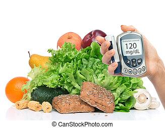 Diabetes diabetic concept. Measuring glucose level blood test on