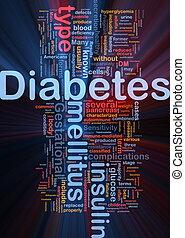 diabetes, doença, fundo, conceito, glowing