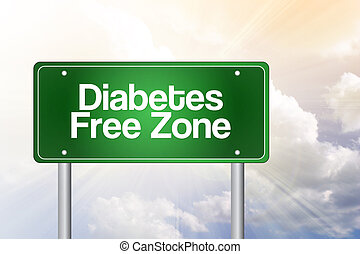 Diabetes Free Zone Green Road Sign Concept