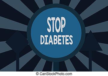diabetes., höher, wasserwaage, text, ausstellung, normal, stopschild, blut, insulin, foto, begrifflich, zucker, als, spritzen