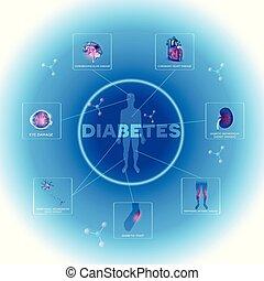 Diabetes affected organs. Diabetes affects nerves, kidneys, eyes, vessels, heart and skin.