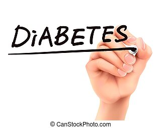 diabetes, mão, 3d, palavra, escrito