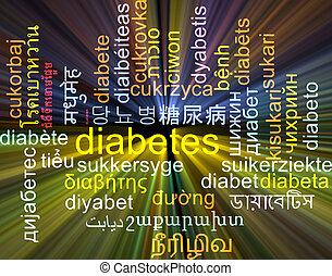 Diabetes multilanguage wordcloud background concept glowing