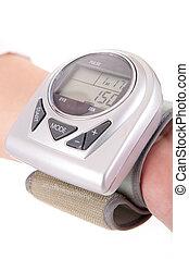 Diabetes patient measuring glucose level blood