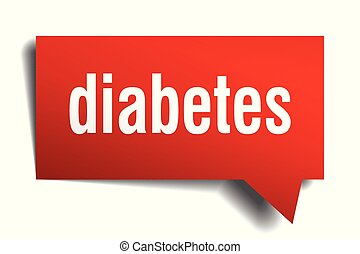 diabetes red 3d speech bubble