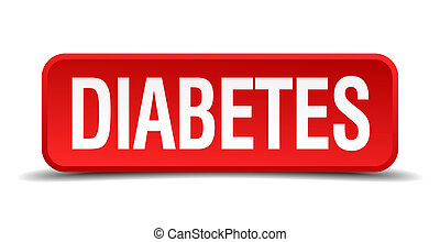 Diabetes red 3d square button isolated on white background
