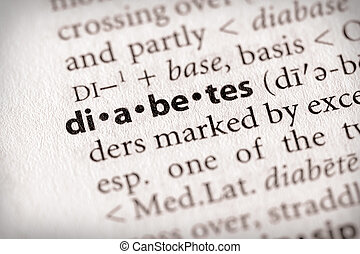 """Diabetes - Selective focus on the word """"diabetes"""". Many more..."""