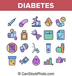 Diabetes Sugar Disease Collection Icons Set Vector