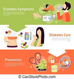 Diabetes Symptoms 3 Flat Banners Set
