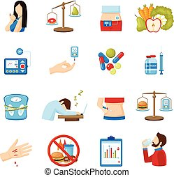 Diabetes Symptoms Signs Flat Icons Collection - Diabetes...