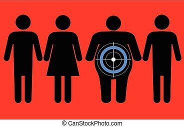 Line of male and female symbols, overweight person has a target and a diabetes symbol on him
