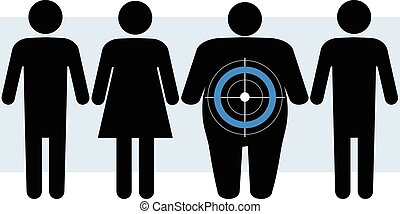 Blue circle symbol for diabetes marks as a target an overweight person in a group, vector illustration