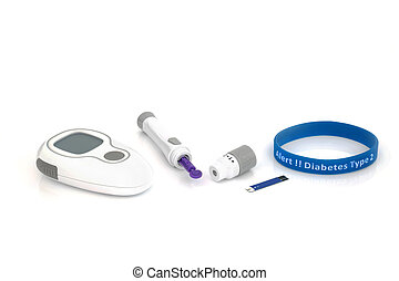 Diabetes Testing Equipment and Alert Wristband