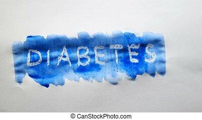 diabetes text inscription watercolor artist paints blot...