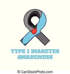 Diabetes Type 1 awareness papercut ribbon