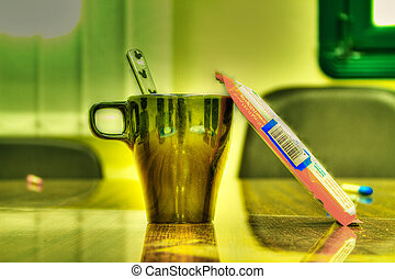 Diabetic Junction - Mug of coffee and candy bar. Adobe 1998.