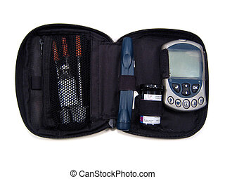 Diabetic Supplies - Set of diabetic supplies including...