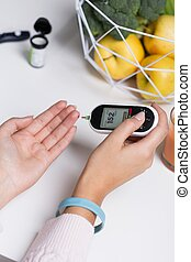 Diabetic with blue bracelet