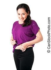 Diabetic woman injecting insulin - Attractive happy diabetic...