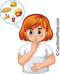 diabetico, ragazza, tatto, affamato