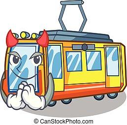diable, électrique, forme, train, jouets, mascotte