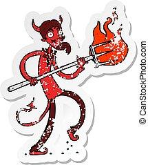 diable, affligé, autocollant, fourche, retro, dessin animé