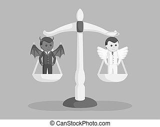 diable, ange, échelle, noir, homme affaires, équilibrage, blanc