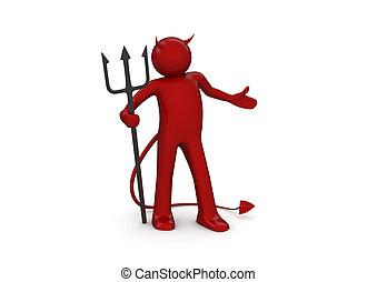 diable, -, caractères, collection, rouges