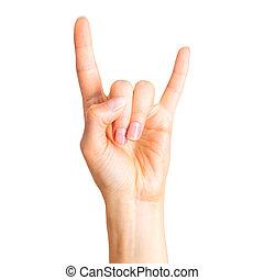 diable, donner, rouleau, projection, rocher, n, femme, cornes, signe main, ou, geste
