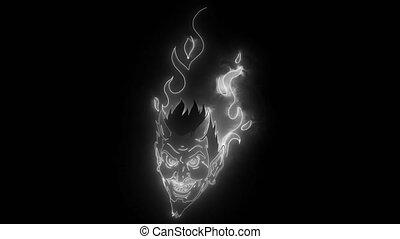 diable, numérique, mascotte, néon, brûler, vidéo, ou, tête, ...