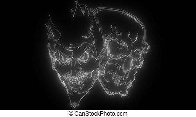 diable, numérique, néon, vidéo, tête, crâne, démon