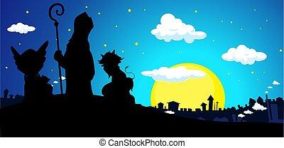 diable, silhouette, ange, nicolas, illustration, townscape, vecteur, saint, bannière