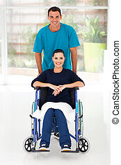 diabled woman and caring husband