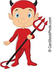 diablo, caricatura, rojo