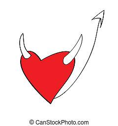 diablo, corazón, caricaturas