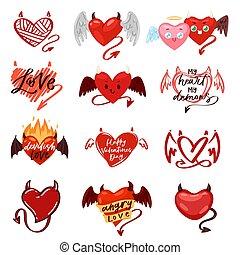 diablo, corazón, vector, amor, rojo, símbolo, con, cuernos,...