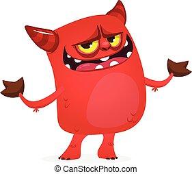 diablo, divertido, rojo, carácter, vector, horns., ...