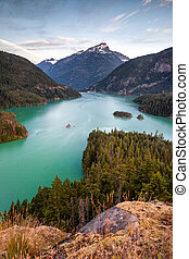 Diablo Lake in North Cascades National Park at sunrise