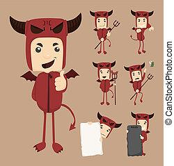 diablo, posturas, conjunto, caracteres