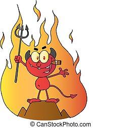 diablo rojo, delante de, llamas