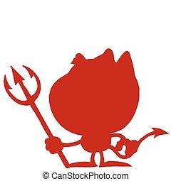 diablo, silueta, rojo