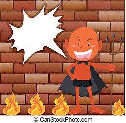 diablo, y, fuego, delante de, pared ladrillo