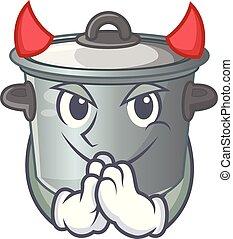 diabo, alimento, pote, cozinhar, usado, caricatura, estoque
