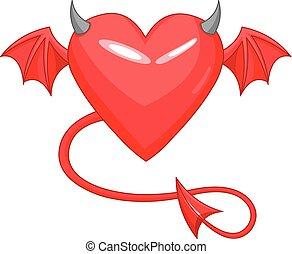 diabo, amor, horned, coração