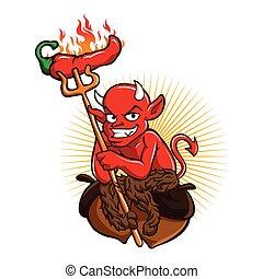 diabo, com, pimentão quente, pimenta, caricatura