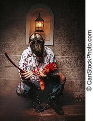 diabo, mortos, correntes, manchas, zombie, concept., dia das bruxas, cosplay., sangrento, experiência., castelo, satã, vermelho, mal, blood., demônio, feriado, celebração, horror, inferno, homem